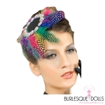 Rainbow Feather Jewelled Beret