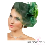 Emerald Green Flower Feather Fascinator