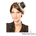 Black Silver Chain White Fringed Mini Top Hat